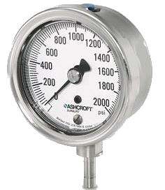 "25 1009AW 02B 1000# - Pressure Gauge, 2.5"" Bronze 1/4"" NPT Back conn, stainless Case, 0/1000 psi"