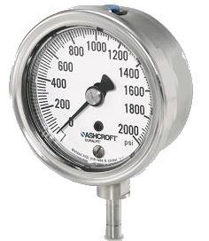 "25 1009SW 02B 1000# - Pressure Gauge, 2.5"" stainless 1/4"" NPT Back conn. & Case, 0/1000 psi"