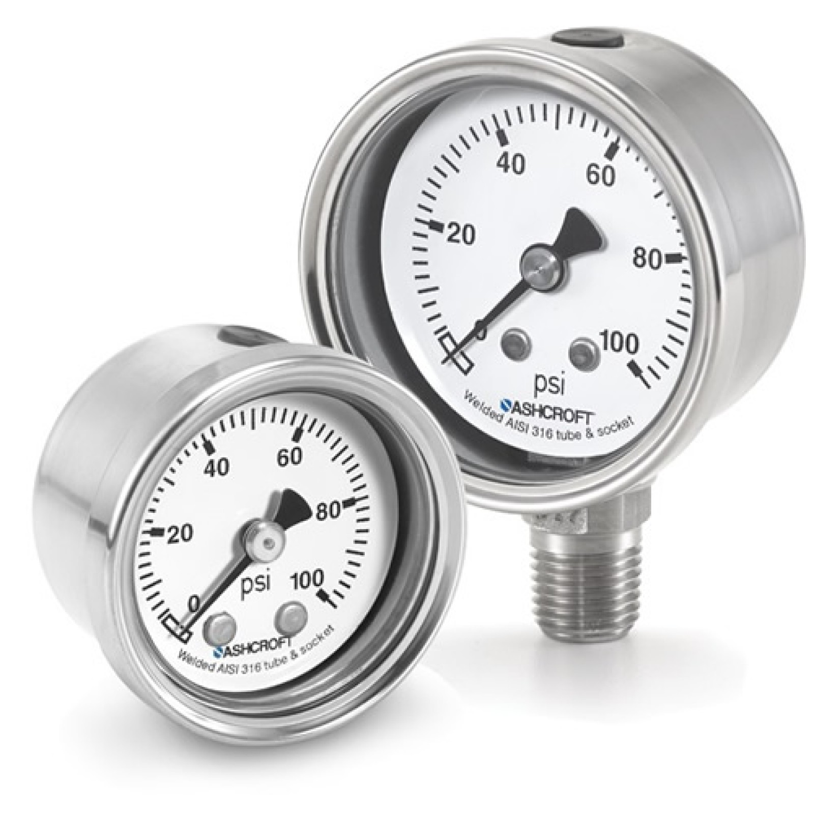 "63 1008S 02L XLL V/lOO#/KP - Pressure Gauge, 63mm stainless 1/4"" NPT Lower conn & Case, Plus Performance 30""hg/100 psi"