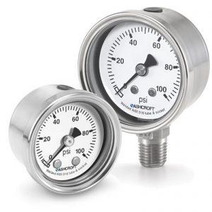 """10 1008S 02B V/150#/KP - Pressure Gauge, 100mm stainless 1/4"""" NPT Back conn & Case, 30""""hg/150 psi"""
