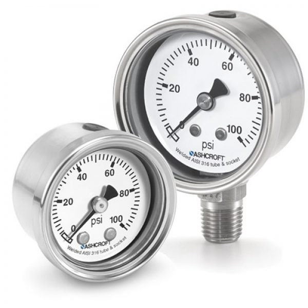 """10 1008S 02B XLJ 2000#/KP - Pressure Gauge, 100mm stainless 1/4"""" NPT Back conn & Case, Dry with liquid-fill port 0/2000 psi"""