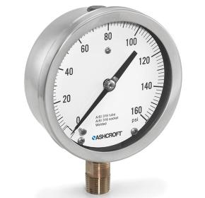 "45 1009AL 04L 30IMV&15# - Pressure Gauge, 4.5"" Bronze 1/2"" NPT Lower conn & stainless Case, liquid-filled, 30""hg/15 psi"