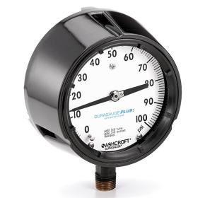 "45 1279AS 02B 30IMV&15# - Pressure Gauge, 4.5"" brass 1/4"" NPT Back conn & Phenolic case, 30"" ""hg/15 psi"